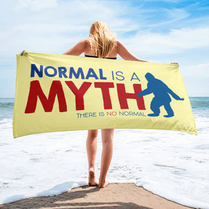 beach towel normal is a myth big foot yeti sasquatch peer pressure popularity disability special needs awareness inclusivity acceptance activism