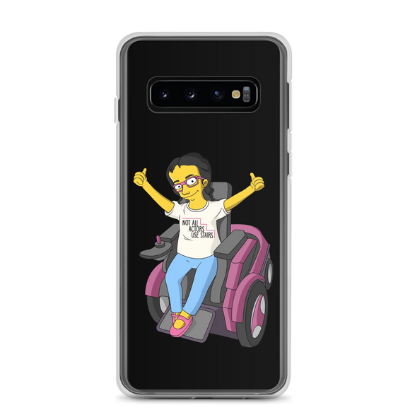 Samsung case Not All Actor Use Stairs yellow cartoon Raising Dion Esperanza Netflix Sammi Haney ableism disability rights inclusion wheelchair actors disabilities actress