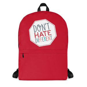 school backpack Don't hate different stop inclusiveness discrimination prejudice ableism disability special needs awareness diversity inclusion acceptance