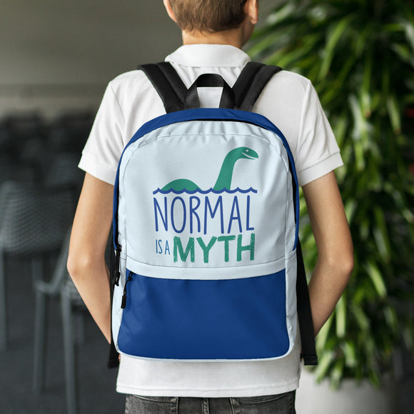 backpack school normal is a myth loch ness monster lochness peer pressure popularity disability special needs awareness inclusivity acceptance activism