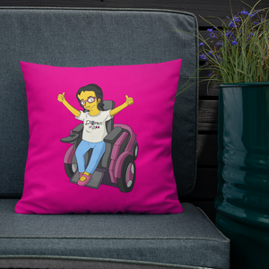 pillow yellow cartoon drawing illustration of Esperanza in wheelchair from Raising Dion Netflix Sammi Haney sassy girl pink glasses fan disability osteogenesis imperfecta