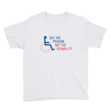 youth shirt see the person not the disability wheelchair inclusion inclusivity acceptance special needs awareness diversity