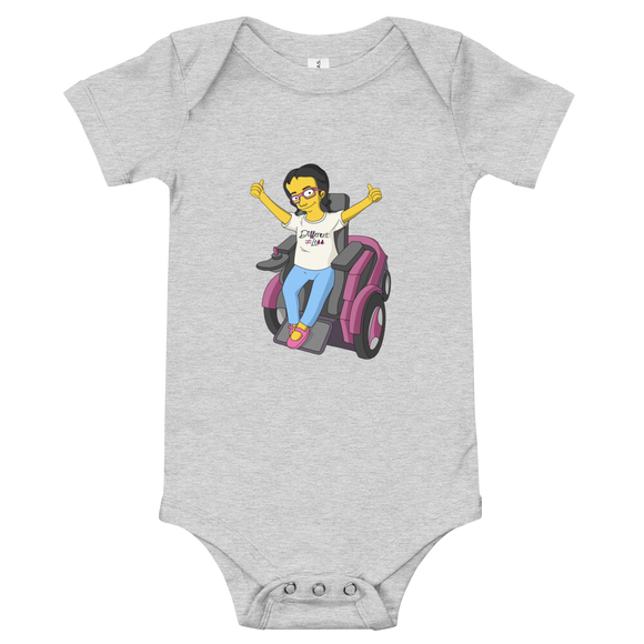 baby onesie babysuit bodysuit yellow cartoon drawing illustration of Esperanza in wheelchair from Raising Dion Netflix Sammi Haney sassy girl pink glasses fan disability osteogenesis imperfecta