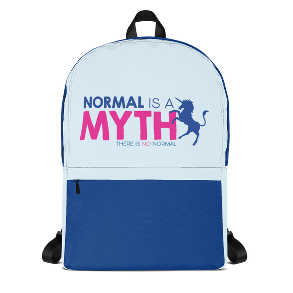 backpack school normal is a myth unicorn peer pressure popularity disability special needs awareness inclusivity acceptance activism