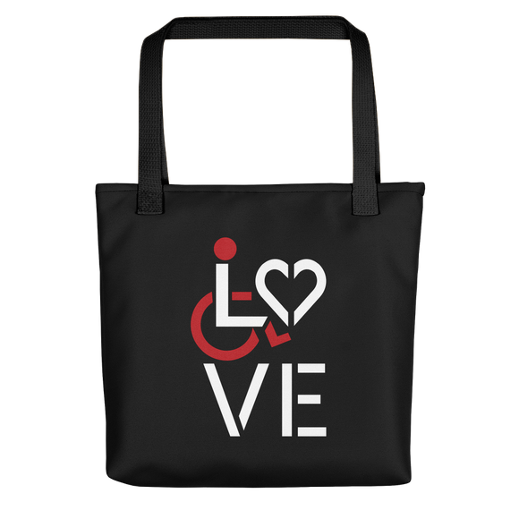 tote bag showing love for the special needs community heart disability wheelchair diversity awareness acceptance disabilities inclusivity inclusion