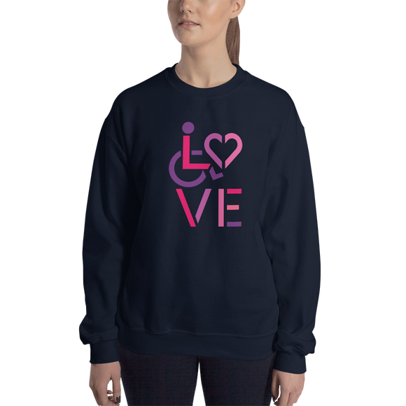 sweatshirt showing love for the special needs community heart disability wheelchair diversity awareness acceptance disabilities inclusivity inclusion