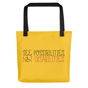 tote bag see possibilities not disabilities future worry parent parenting disability special needs parent positive encouraging hope