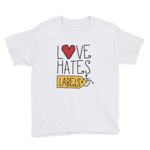 youth shirt Shirt Love Hates Labels disability special needs awareness diversity wheelchair inclusion inclusivity acceptance