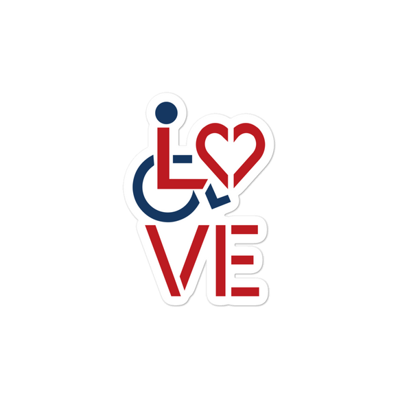 sticker showing love for the special needs community heart disability wheelchair diversity awareness acceptance disabilities inclusivity inclusion