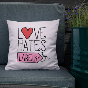 pillow Love Hates Labels disability special needs awareness diversity wheelchair inclusion inclusivity acceptance