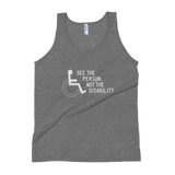 See the Person, Not the Disability (Unisex Dark Tank Tops)