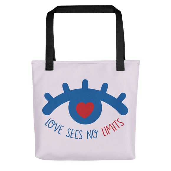 tote bag love sees no limits luv heart eye disability special needs expectations future