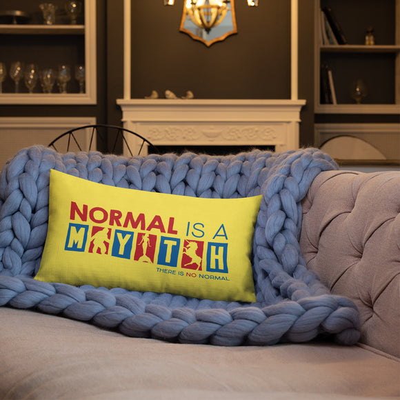 pillow normal is a myth big foot mermaid unicorn peer pressure popularity disability special needs awareness inclusivity acceptance activism