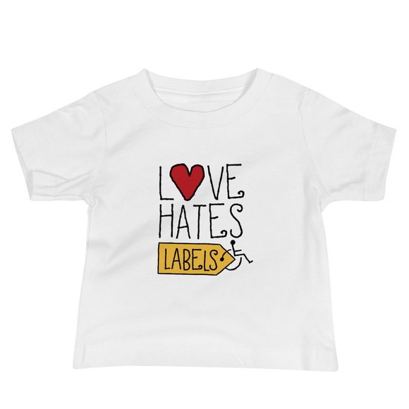 baby Shirt Love Hates Labels disability special needs awareness diversity wheelchair inclusion inclusivity acceptance