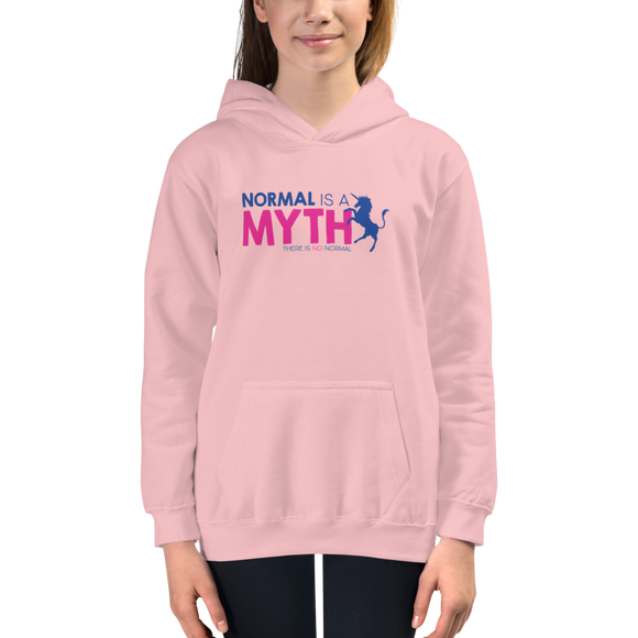 kid's hoodie normal is a myth unicorn peer pressure popularity disability special needs awareness inclusivity acceptance activism