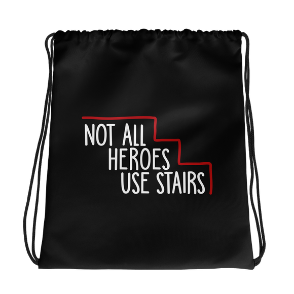 drawsting bag Not All Heroes Use Stairs hero role model super star ableism disability rights inclusion wheelchair disability inclusive disabilities