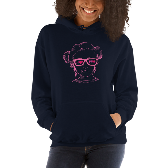 hoodie I love Pink pink glasses love luv heart Raising Dion Esperanza fan Netflix Sammi Haney