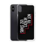 Not All Heroes Use Stairs (Black iPhone Case)
