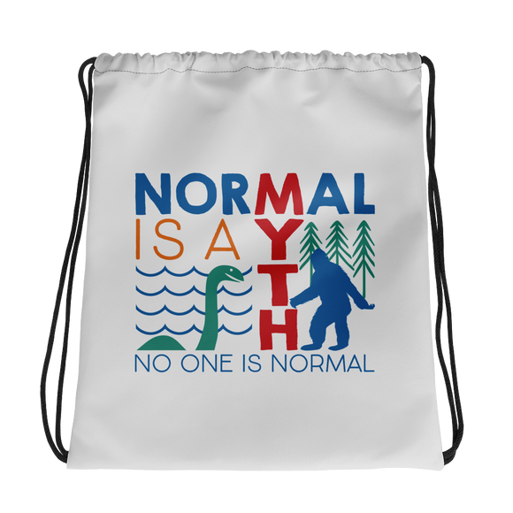 drawstring bag normal is a myth big foot loch ness lochness yeti sasquatch disability special needs awareness inclusivity acceptance activism