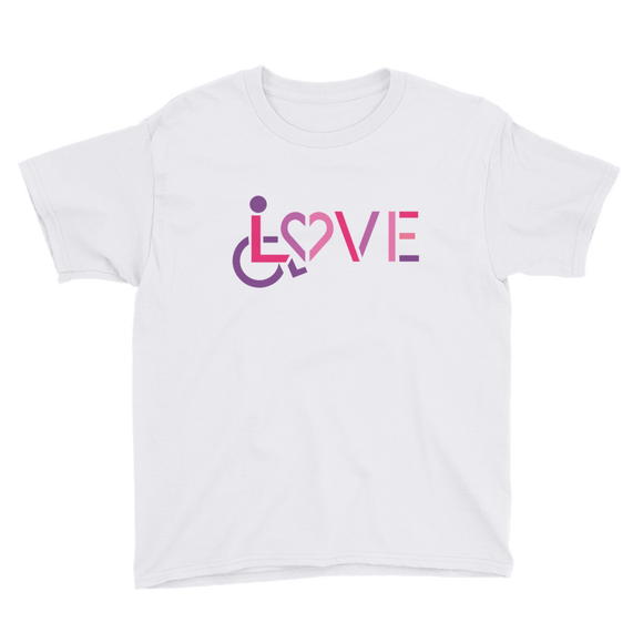 youth Shirt showing love for the special needs community heart disability wheelchair diversity awareness acceptance disabilities inclusivity inclusion