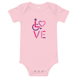 baby onesie babysuit bodysuit showing love for the special needs community heart disability wheelchair diversity awareness acceptance disabilities inclusivity inclusion