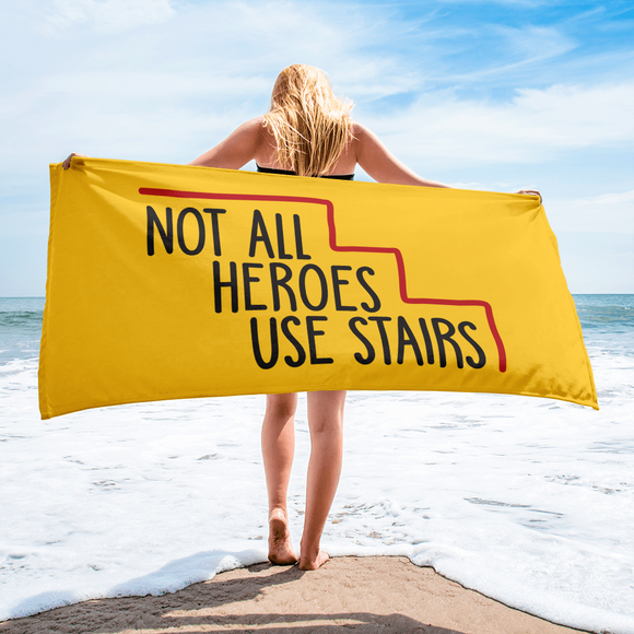 beach towel Not All Heroes Use Stairs hero role model super star ableism disability rights inclusion wheelchair disability inclusive disabilities