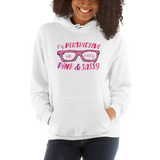 My Perspective is Very Pink & Sassy (Esperanza - Raising Dion) Hoodie White/Navy