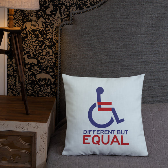 pillow different but equal disability logo equal rights discrimination prejudice ableism special needs awareness diversity wheelchair inclusion acceptance