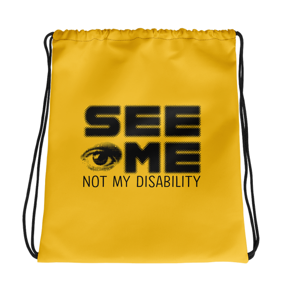 drawstring bag See me not my disability wheelchair invisible acceptance special needs awareness diversity inclusion inclusivity