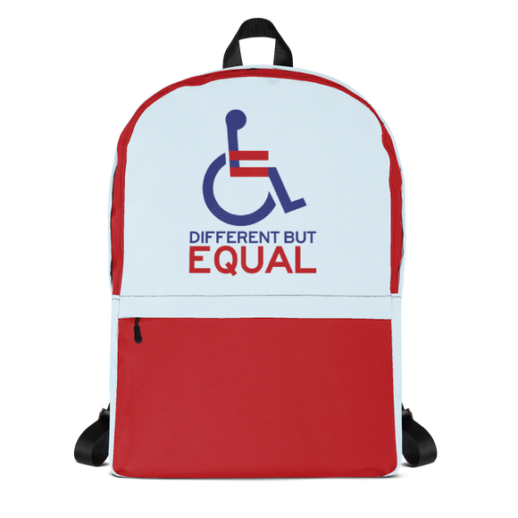 backpack school different but equal disability logo equal rights discrimination prejudice ableism special needs awareness diversity wheelchair inclusion acceptance