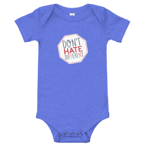 baby onesie babysuit bodysuit Don't hate different stop inclusiveness discrimination prejudice ableism disability special needs awareness diversity inclusion acceptance