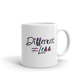 Different Does Not Equal Less (As Seen on Netflix's Raising Dion) Mug with Digital Glitter