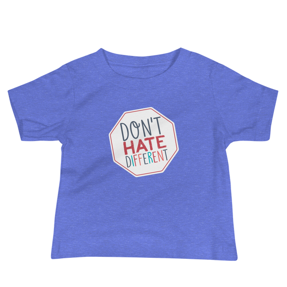baby shirt Don't hate different stop inclusiveness discrimination prejudice ableism disability special needs awareness diversity inclusion acceptance