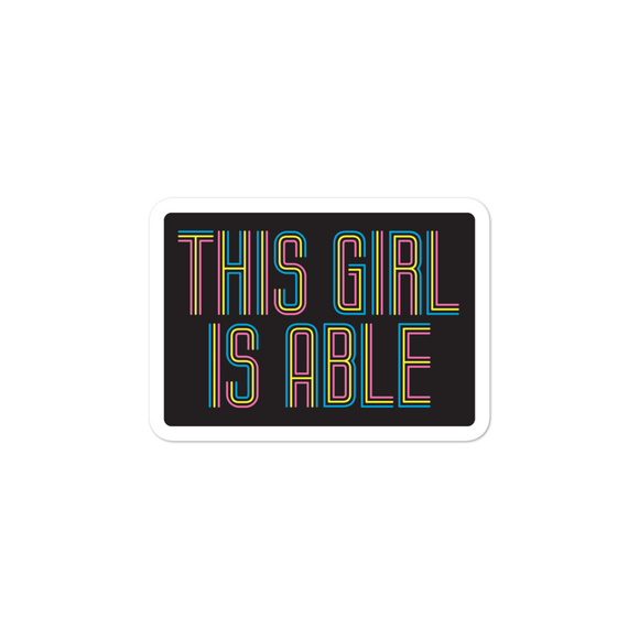 sticker This Girl is Able abled ability abilities differently abled able-bodied disabilities girl power disability disabled wheelchair