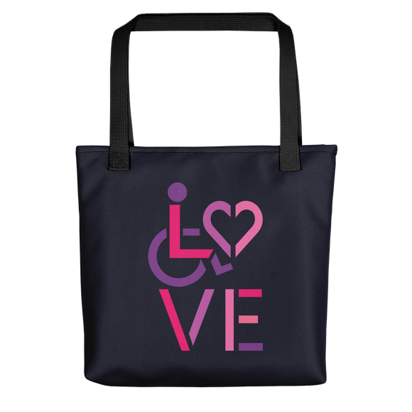 tote bags showing love for the special needs community heart disability wheelchair diversity awareness acceptance disabilities inclusivity inclusion