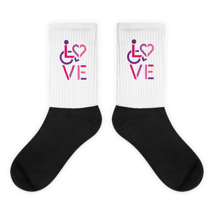 socks showing love for the special needs community heart disability wheelchair diversity awareness acceptance disabilities inclusivity inclusion