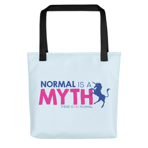 Tote bag normal is a myth unicorn peer pressure popularity disability special needs awareness inclusivity acceptance activism