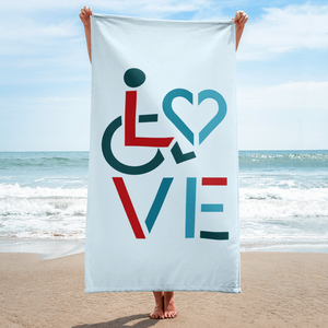 beach towel showing love for the special needs community heart disability wheelchair diversity awareness acceptance disabilities inclusivity inclusion