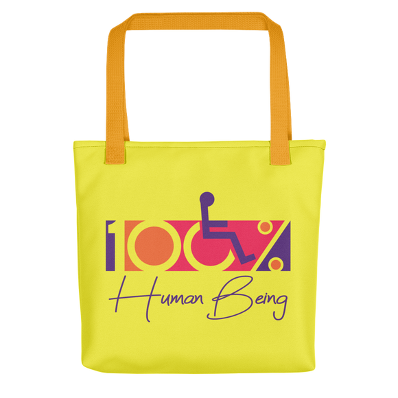 tote bag 100% Human Being disabled handicapped disability special needs awareness inclusivity acceptance activism