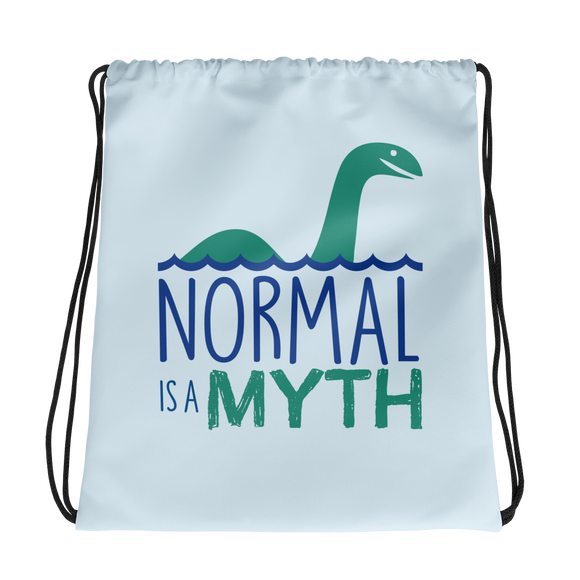 drawstring bag normal is a myth loch ness monster lochness peer pressure popularity disability special needs awareness inclusivity acceptance activism