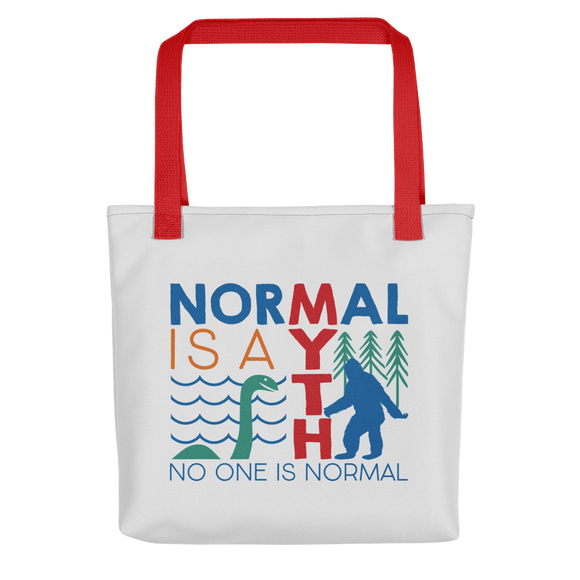 tote bag normal is a myth big foot loch ness lochness yeti sasquatch disability special needs awareness inclusivity acceptance activism
