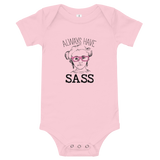 baby onesie babysuit bodysuit Always have Sass Sammi Haney Esperanza Netflix Raising Dion fan wheelchair pink glasses sassy disability osteogenesis imperfecta OI