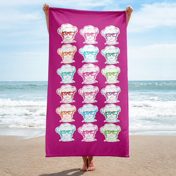 beach towel 9 Different Colored Faces of Sammi Haney Esperanza Netflix Raising Dion fan sassy wheelchair pink glasses disability osteogenesis imperfecta OI