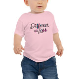 Different Does Not Equal Less (As Seen on Netflix's Raising Dion) Pink Baby Shirt with Digital Glitter