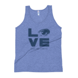 Love Sees No Limits (Halftone Stacked Design, Unisex Tank Top)