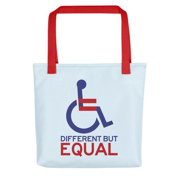 tote bag different but equal disability logo equal rights discrimination prejudice ableism special needs awareness diversity wheelchair inclusion acceptance