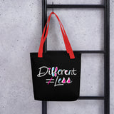 Different Does Not Equal Less (As Seen on Netflix's Raising Dion) Black Tote bag