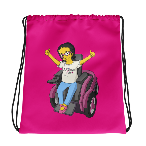 drawstring bag yellow cartoon drawing illustration of Esperanza in wheelchair from Raising Dion Netflix Sammi Haney sassy girl pink glasses fan disability osteogenesis imperfecta