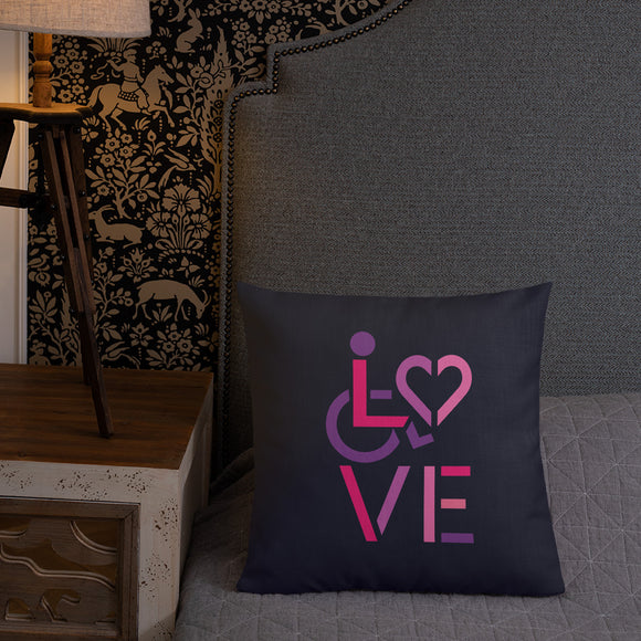 pillow showing love for the special needs community heart disability wheelchair diversity awareness acceptance disabilities inclusivity inclusion