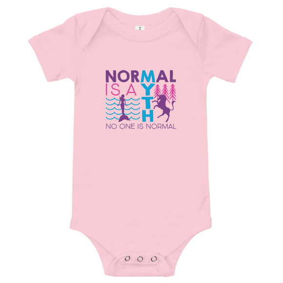 baby onesie babysuit bodysuit normal is a myth mermaid unicorn peer pressure popularity disability special needs awareness inclusivity acceptance